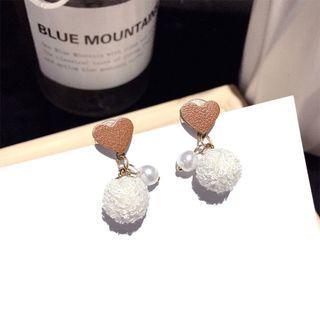 Faux Pearl Heart & Bobble Dangle Earring 1 Pair - Steel Needle - Gold - One Size
