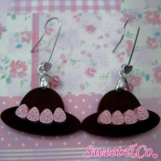 Sweet Pink Swarovski Crystal Strawberry Choco Hat Dangle Earrings Silver - One Size