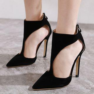 Pointy-toe Cut-out Stiletto-heel Ankle Boots
