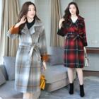 Plaid Woolen Coat With Sash