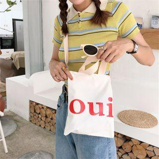 Lettering Canvas Crossbody Bag Oui - White - One Size