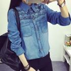 Embroidered Washed Denim Blouse