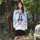 Round-neck Graphic Long Sweater