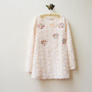 Flower Appliqu  Rosette Long-sleeve Top