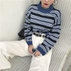 Mock Neck Striped Sweater Stripe - Blue - One Size