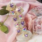 Rhinestone Heart Dangle Earring Purple - One Size