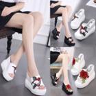 Platform Wedge Embroidery Slide Sandals
