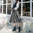 Pleated Sheeny Velvet Midi Skirt