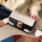 Color Block Faux Leather Flap Crossbody Bag