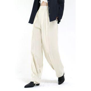 Pleated-hem Wide-leg Pants