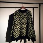 Argyle Distressed Oversize Sweater