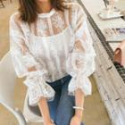 Set: See-through Lace Blouse + Camisole Top