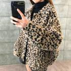 Leopard Print Faux Shearling Jacket