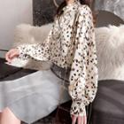 Dotted Chiffon Blouse Off-white - One Size