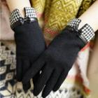 Houndstooth Panel Bow-accent Gloves