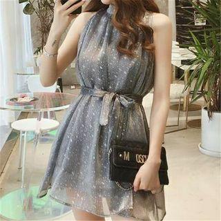 Glitter Sleeveless Mini A-line Dress