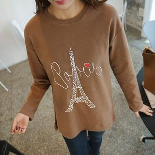 Lettering Eiffel Tower Print T-shirt