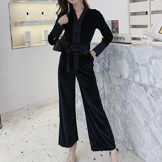 V-neck Long-sleeve Velvet Wide Leg Jumpsuit
