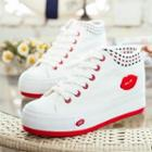 Lip-applique High-top Sneakers