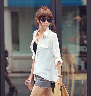 Tab-sleeve Sheer Shirt