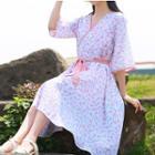 Set: Slipdress + Elbow-sleeve Printed Midi Dress