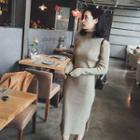 Turtleneck Plain Knit Midi Dress