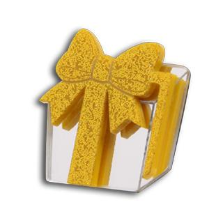 Sweet Yellow Glitter Present Silver Ring