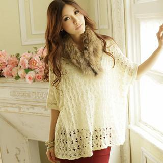 Elbow-sleeve Knit Top