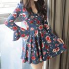 A-line Rosette Mini Dress