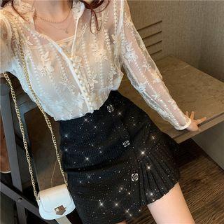 Lace Blouse / Asymmetric Hem A-line Skirt