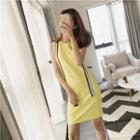 Striped Applique Sleeveless Knit Dress