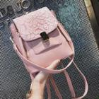 Lace Panel Buckled Crossbody Bag