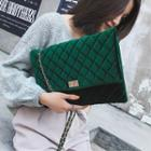 Velvet Quilted Twist Lock Chain-strap Shoulder Bag