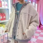 Hooded Fuax-shearling Jacket