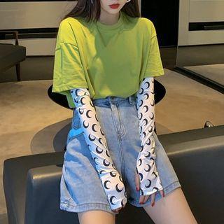Plain Short Sleeve T-shirt / Printed Sun Protection Arm Sleeves (various Design)