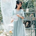Floral Embroidered V-neck Elbow-sleeve Dress