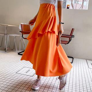 Ruffle-trim Long Flare Skirt