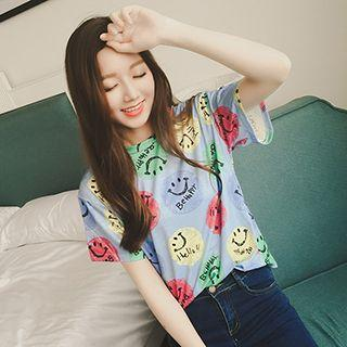 Smiley Face Print Short Sleeve T-shirt