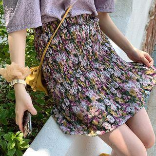 Smocked Floral Print A-line Skirt
