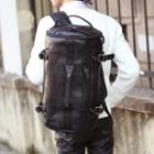 Faux Leather Duffle Backpack