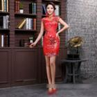 Cap-sleeve Floral Embroidered Mini Qipao
