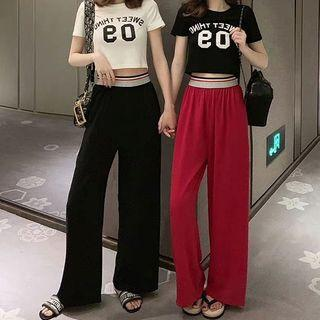 Short-sleeve Number T-shirt + Wide-leg Pants