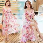 Floral Short-sleeve Midi A-line Dress
