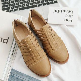 Low Heel Woven Oxfords