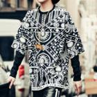 Patterned Panel Long-sleeve Sweatshirt