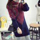 Turtleneck Color Panel Long Sweater