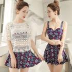 Set: Crochet Top / Printed Bikini Top + Swim Skirt