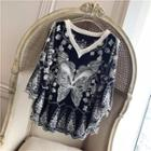 3/4-sleeve Lace Mesh Top Black - One Size