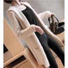 Furry Hooded Long Cardigan (beige)