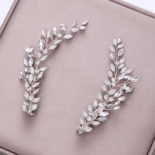 Rhinestone Leaf Hair Clip Silver - One Size